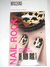 NAIL ROCK Designer Nail Wraps NR026NS - Giraffe Black on Gold - Made in UK- NEW