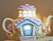 Ceramic Bisque Ready to Paint Lighted Cozy Teapot Fairy Cottage w/ Clip in light