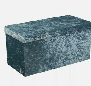 Teal Blue Velvet ottoman storage box with diamonte double size velvet touch