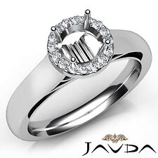 0.2Ct Halo Prong Set Round Cut Diamond Engagement Semi Mount Ring Platinum 950