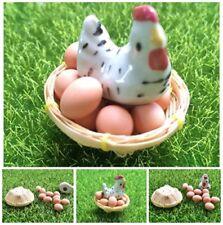 Set 10 Clay Egg Dollhouse Miniature Animals ,Tiny Hen Chicken Animal Ceramic