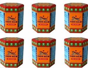 Tiger Balm Red ointment massage muscle rub herbal aches pain relief...6 x 21 ml