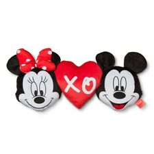 "Disney Mickey and Minnie Mouse XO Pillow PAL 26"" Cuddly Plush Heart Toy"