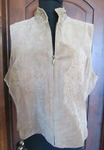 Coldwater Creek Camel TAN suade leather lined embroidered zipped vest XL ~ NICE