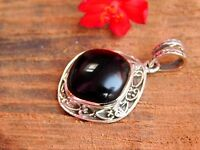 Genuine 925 Sterling Silver Jewelry Ethnic Pendant With Natural Black Onyx Gems