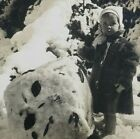 Jack Frost Junior Little Boy Rolling Snow Ball Building Man Stereoview F440