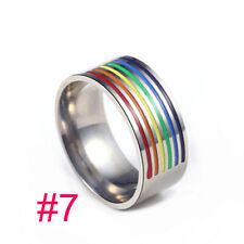 HALLOWEEN Rainbow Gay Pride Stainless Steel MEN WOMEN SILVER FASHION ring