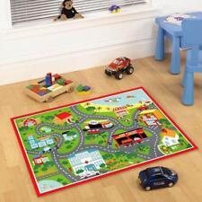 Floor Carpet Rugs for Kids Playroom Car Beach Road Map Design Soft Plush Mat