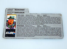1988 GI JOE MUSKRAT v1 FILE CARD FILECARD NL FR BENELUX - HASBRO