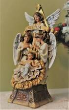 Nativity Scene 10 inch Christmas Statue Gloria Angels Baby Jesus in Crib Bavaria