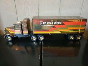 "Vintage Nylint FIRESTONE GOLD Freightliner 18 Wheelers 24"" Semi truck Trailer"