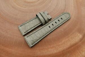24mm/22mm Light Gray Genuine ALLIGATOR Leather Watch Strap Band forPanerai