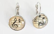 Ohrringe Ohrring Notenlinien Violinschlüssel Noten 12 mm Glassteine Cabochon (MB