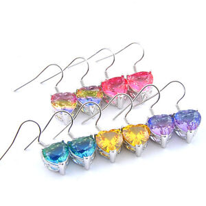 Big Offer 5PRS Heart Citrine Pink Green Rainbow Tourmaline Silver Drop Earrings
