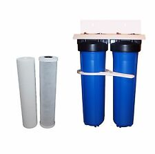 "Whole House Water Filter System 20"" x 4.5"" Big Blue Carbon + Sediment"