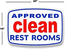 "24"" APPROVED CLEAN RESTROOM DECAL TO MAKE GAS STATION SIGN GASOLINE PUMP LUBSTER"