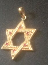 14K Gold Jewish Star Of David w Rubies Charm Pendant 4 g SIGNED