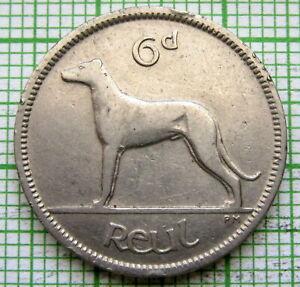IRELAND 1928 6 PINGIN PENCE SIXPENCE, IRISH WOLFHOUND DOG, NICKEL