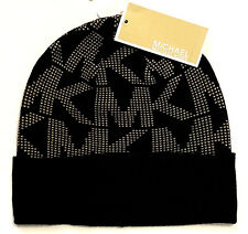 eb66eb26aca NWT MICHAEL KORS WOMEN S BEANIE HAT ONE SIZE BLACK BEIGE 536817CL MSRP   42.00