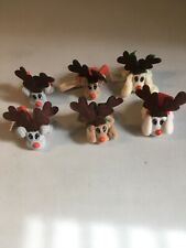 Vintage 1995 Pound Puppies 6 Christmas Reindeers Mini Plush Lot