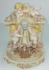 Angel Musical Tabletop Decor Floral Faux Fountain Resin Battery Operated Beige