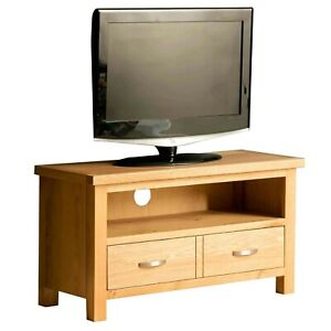London Oak TV Unit Stand Light Solid Wood 90 cm Television Wooden Media Cabinet