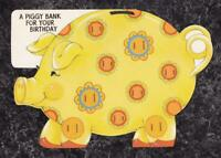 Die Cut Vintage Birthday Coin $1.50 Money Card Piggy Bank Hallmark Canada Used