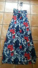 Monsoon halter neck long/maxi floral dress white/blue/red - size UK 10 / eur 38