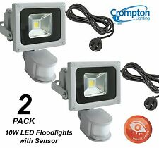 2 x Crompton 10W LED Outdoor Security Floodlights - Motion Sensor, Cord & Plug