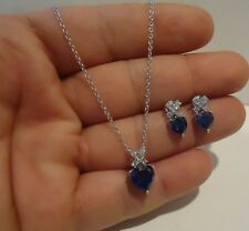 SILVER HEART NECKLACE PENDANT & EARRING SET W/ 5.75 CT DIAMOND & TANZANITE