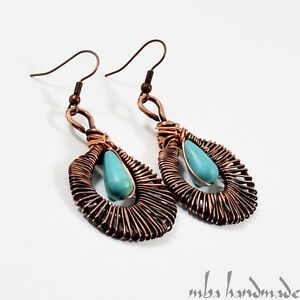 Turquoise Drop Dangle Earrings Antiqued Copper Wire Wrapped Natural Gemstone