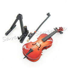 1:12 Wood Cello Violin Bow Miniature Musical Instrument With Case & Holder Toy