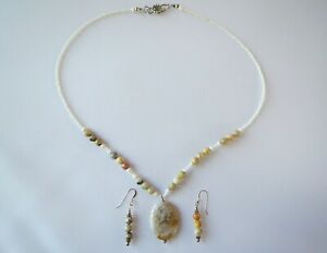 925 Sterling Silver Matching Agate Quartz & Puca Shells Necklace & Earrings