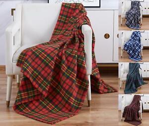 Fleece Throw Blanket 120x150cm Soft Warm Single Tartan Check Sofa Bed Travel Car