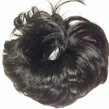 "SCRUNCHIE # 1B NATURAL BLACK SYNTHETIC CURLY HAIR 3.5"" LONG PONYTAIL HOLDER"