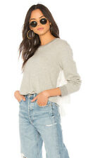 NWT 168$ JOIE Devra Back White Eyelet Sweatshirt gray Pull over *XS-S