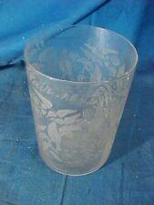 1893 WORLDS COLUMBIAN EXPOSITION Souvenir ETCHED GLASS TUMBLER w BIRD Design