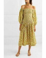 Rhode Resort Harper Shirred Midi Dress Floral-Printed Yellow Smocked M Nw 198992