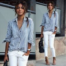 Casual Women Blouse Striped Long Sleeve Ladies Top T Shirt Short Lapel Tops Bllt Blue and White XL