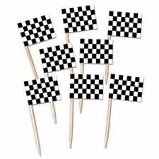 RACING CAR CHECKERED FLAG PICKS 50 CANAPÉ FOOD CUPCAKE FLAGS!