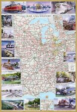 Rail U.S.A. Museums & Trips Central States Illustrated Map Laminated Poster