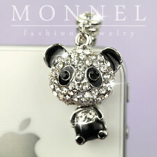 ip499 Cute Panda Crystal Dust Proof Phone Plug Cover Charm For iPhone 4 4S 5