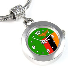 Zambia Flag Silver European Spacer Charm Bead Watch For Bracelet Necklace EBA415