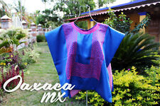 131 Womens Mexican Embroidered Blue Huipil Oaxaca Boho Hippie Mayan Blouse