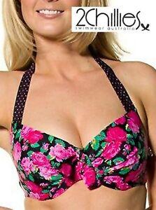 2 CHILLIES Ladies B/C Balconette Halter Style Underwired Bikini Tops Sizes 8-16
