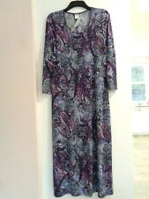 Kim & Co Printed Brazil Jersey Long Sleeve Maxi Dress S Purple Multi BNWOT