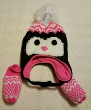 NWT Penguin Lined Knit Hat and Mittens Size XS 6/12 MTH The Children's Place