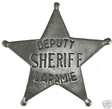 1 in HAT DEPUTY SHERIFF LARAMIE OLD WEST PIN BADGE MADE IN USA 08