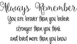 Always Remember You Are Braver Stronger inspirational Quote vinyl wall sticker
