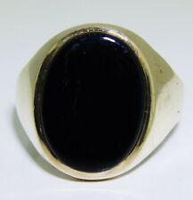 9CT BLACK ONYX SIGNET RING 9 CARAT YELLOW GOLD 5.1g SIZE R
